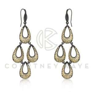 Courtney Kaye 14k Gold and Hematite Filigree Earring