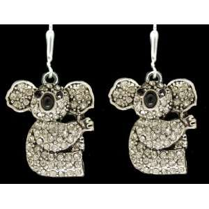 Koala Bears Black & Diamond Rhinestone Sparkling 1 inch