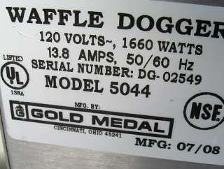 Gold Medal Waffle Dogger Corn Dog Maker Model 5044
