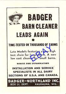 1953 BADGER BARN CLEANER AD MANURE CARRIER KAUKAUNA WI