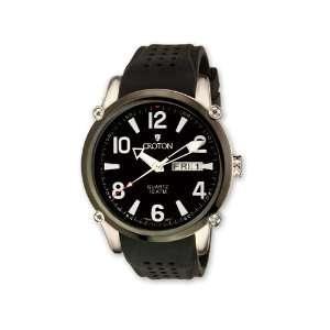 Croton Mens Black Dial Black Silicon Band Quartz Watch