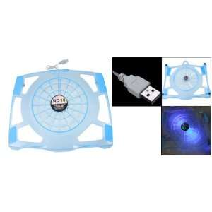Gino Crystal Blue Plastic LED Light Notebook PC Cooling