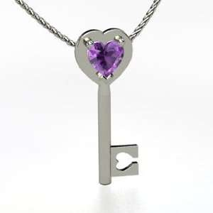 Key to My Heart, Heart Amethyst 14K White Gold Necklace