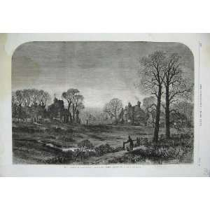 1861 Curate Glevering Church Houses Trees Moonlight Art