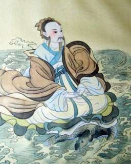 Old Chinese Silk Painting,Frame, Matte,sign~Man & Fish