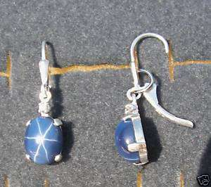 STAR SAPPHIRE CREATED S/S EARRINGS NAT WHITE SAPPHIRE ACCENTS