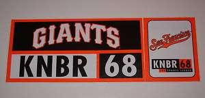 Vintage San Francisco Giants KNBR Bumper Sticker
