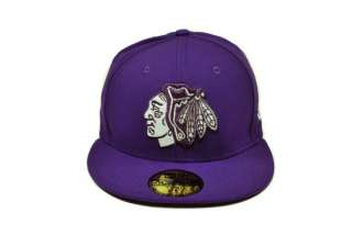 59FIFTY FITTED HAT CAP CHICAGO BLACKHAWKS NHL HOCKEY DEEP PURPLE WHITE