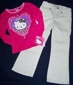 Girls HELLO KITTY Top & Denim Pants OUTFIT sz 3t 4t NWT