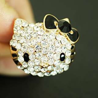 Cute Bowknot Kitty Cat Gold Plated Bridal Gemstone CZ Finger Adjust
