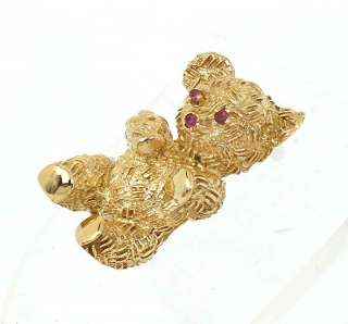 CUTE 18K GOLD & RUBIES 3D TEDDY BEAR PIN BROOCH