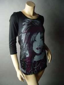 CORSET Lace Up 80s Punk Rock Cyber Rave Blk Top Shirt S
