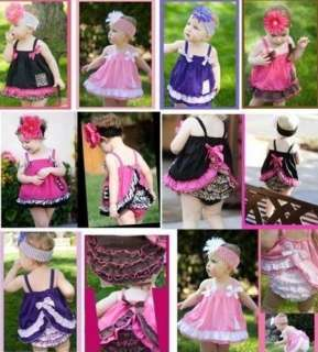 Girl Baby Ruffle Top+Pants Set S0 3Y Bloomers Nappy Cover Clothes BB01