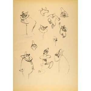 1948 Albert Hurter Disney Cartoon Clowns Costume Print