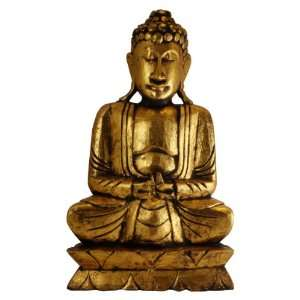 Hand Carved Antique Gold Finish Wood Buddha Statue