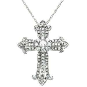 14k White Gold Diamond Cross Pendant (3/8 cttw, I J Color