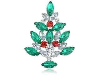 Emerald Green Crystal Gem Rhinestone Ornamental Tree Pin Brooch