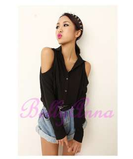 Sexy Women Vintage Punk Rockabilly Cut Out Shoulder Boyfriend Shirt