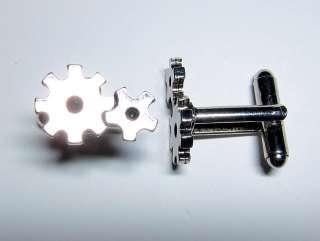 silver gears sprocket mechanical engineer engineering clock cufflinks