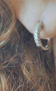 1,365.00 ROBERTO COIN 18K White Gold Diamond Small Hoop Earrings SALE