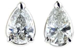50 ct PEAR Shaped Diamond Solitaire Studs Earrings WG Tear Drops 100