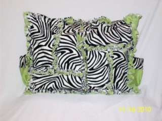 Lime Green Black Zebra Rag Quilt Diaper Bag Tote