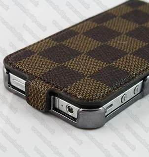 Luxury Designer Leather Flip Case Cove for Apple iPhone 4 4S & Screen