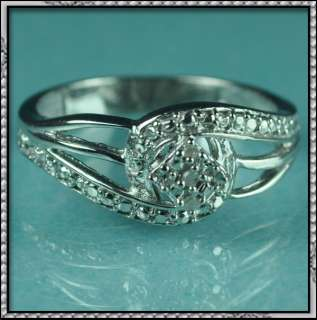 NEW 925 STERLING SILVER REAL DIAMOND LADIES FASHION RING