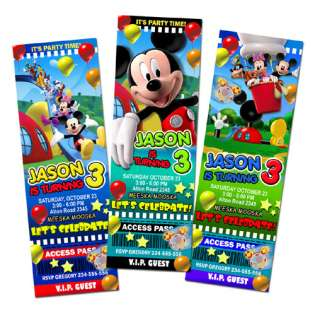 MICKEY MINNIE CLUBHOUSE DISNEY BIRTHDAY PARTY INVITATION TICKET BABY
