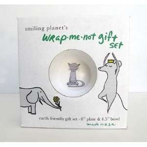 Wrap Me Not Gift Set   Yoga Dog Plate and Yoga Cat Bowl