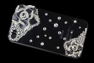 Bling Rhinestone Crystal Hard Case Cover iPhone 4 4G 4S S Black