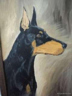 VINTAGE Retro DOG Doberman Pinscher PORTRAIT Original Painting c. 1985