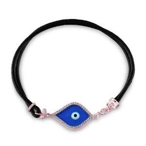 Victoria Kay 14k Rose Gold Diamond Enamel Evil Eye Bracelet (1/3cttw