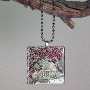 Cherry Blossom In Snow Glass Tile Necklace Pendant 636