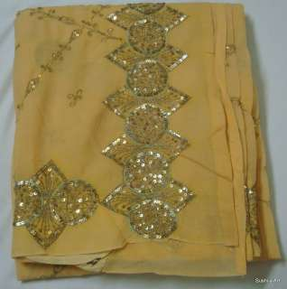 Sequins Antique American Georgette Vintage Sari Fabric