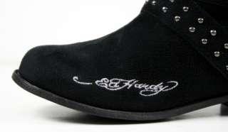 Ed Hardy Womens QUEBEC studded Boots Skull roses Black