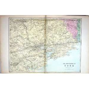 Bacon Antique Map 1883 Environs Cork Ireland Harbour