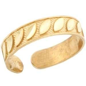 10k Solid Yellow Gold Diamond Cut Toe Ring Jewelry
