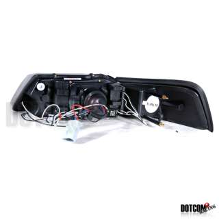 99 04 FORD MUSTANG DUAL HALO GLOSSY BLACK SMOKE LENS LED PROJECTOR