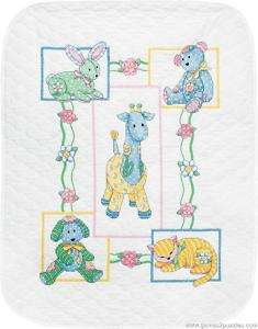 Babys Friends Quilt Stamped Cross Stitch Kit NEW