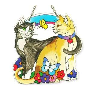 Two Cats in Love   Suncatcher by Joan Baker Patio, Lawn