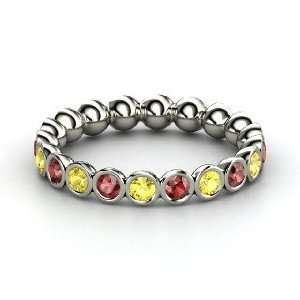 Pod Eternity Band, Platinum Ring with Red Garnet & Yellow