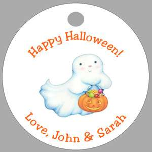 GHOST PUMPKIN * 20 Personalized Favor Tags * HALLOWEEN