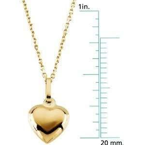 14 Karat Gold Childrens Kids Puffed Heart Pendant Necklace
