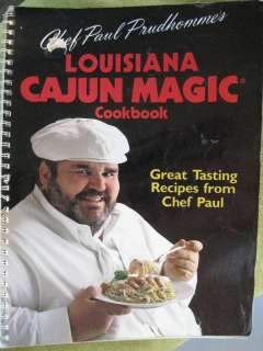 Paul Prudhomme LOUISIANA CAJUN MAGIC 1989 cookbook spiral 96pp