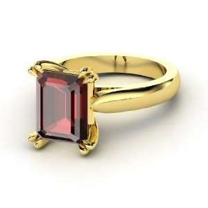 Quotation Ring, Emerald Cut Red Garnet 14K Yellow Gold
