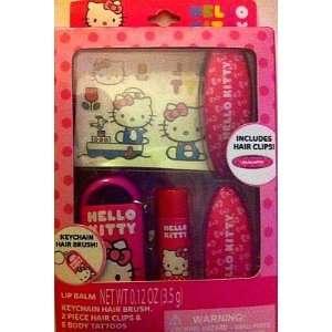 Hello Kitty Beauty Set   Lip Balm Hair Brush Hair Clips & Body Tattoos