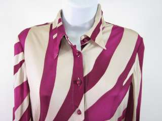 GIANNI VERSACE Purple Silk Zebra Print Shirt Dress 42