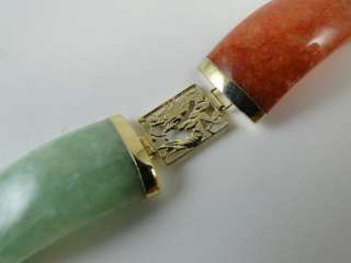 Vintage Chinese White Green Jade Stone 14K Solid Gold Bracelet China