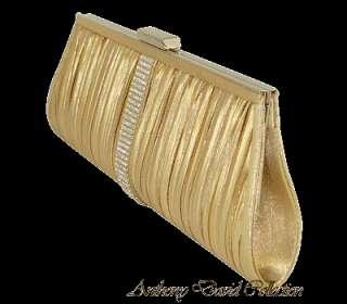 Pleated Clutch Evening Bag w/ Swarovski Crystals   Gold